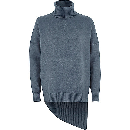 Blue asymmetric hem roll neck jumper
