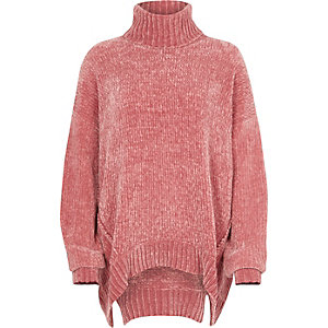 Pink chenille knit oversized roll neck jumper