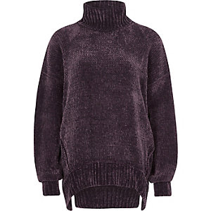 Purple chenille knit oversized roll neck jump