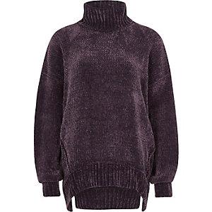 Purple chenille knit oversized roll neck jump