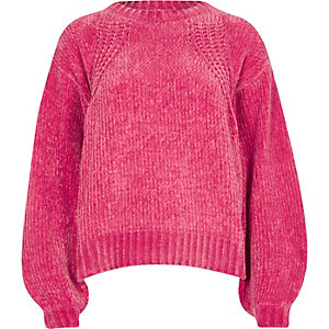 Pink chenille knit balloon sleeve jumper