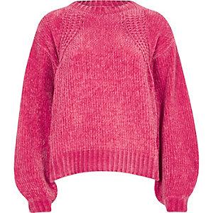 Pink chenille knit balloon sleeve sweater