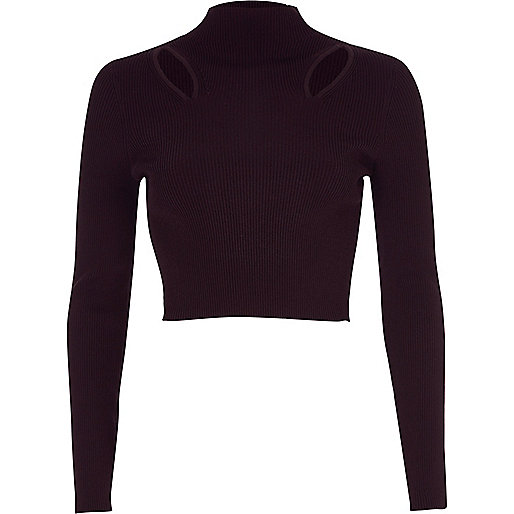 Purple ribbed cut out cropped long sleeve top