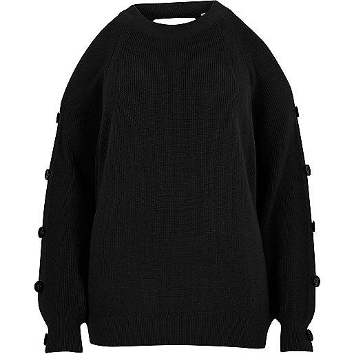 Black knit cold shoulder button sleeve sweater