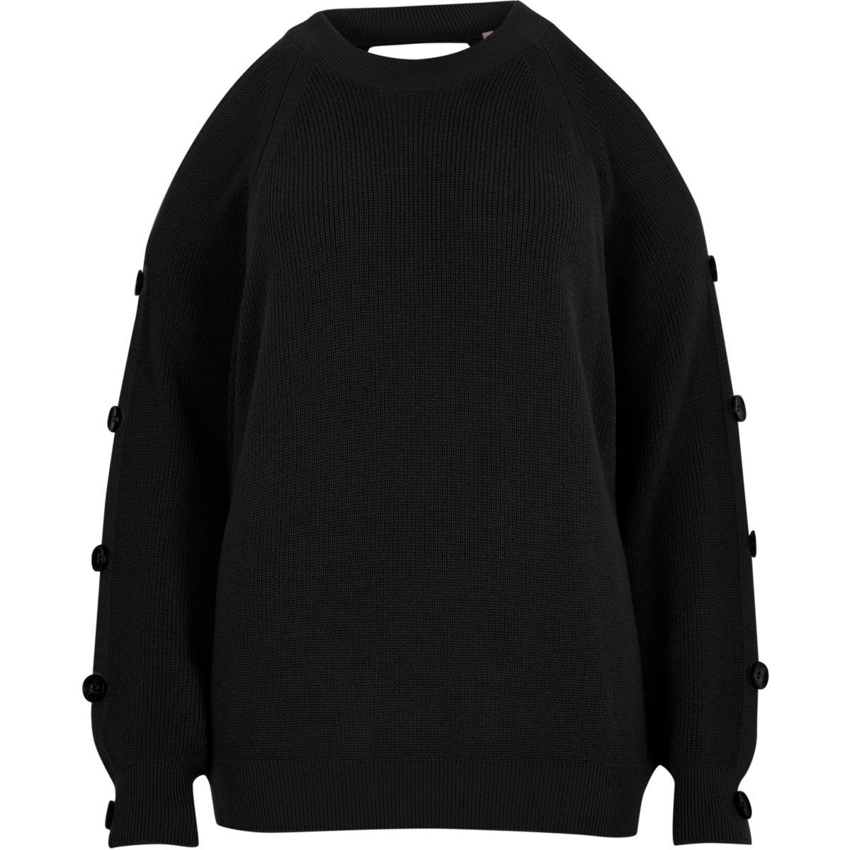 Zwarte gebreide schouderloze pullover met knopen op de mouwen
