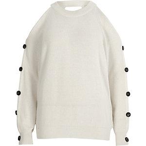 White knit cold shoulder button sleeve jumper