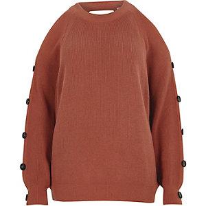 Pink knit cold shoulder button sleeve jumper