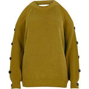 Lime green cold shoulder knit jumper