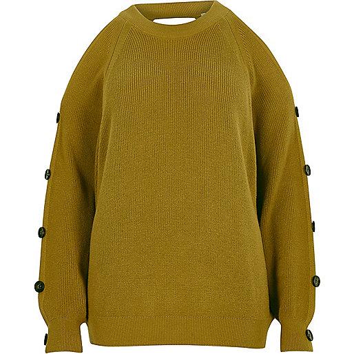 Lime green cold shoulder knit sweater