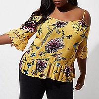 Plus yellow floral cold shoulder lace top