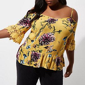 RI Plus - Gele schouderloze kanten top met bloemenprint