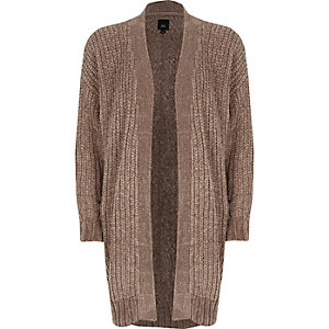 Light brown chenille longline cardigan