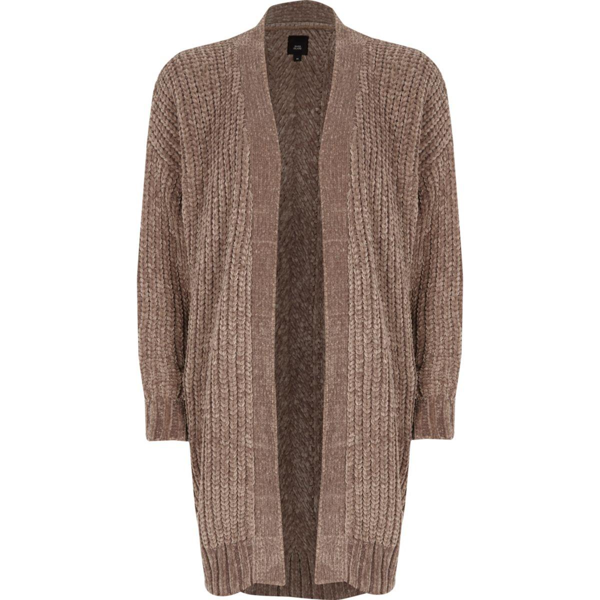 Light brown chenille longline cardigan