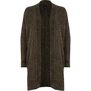 Khaki chenille longline cardigan