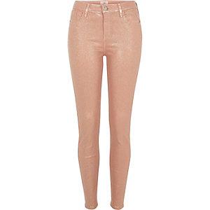 Amelie - Perzikroze skinny jeans met glittercoating