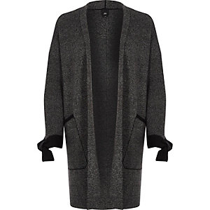 Dark grey tie cuff cardigan