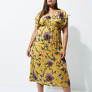 Plus yellow floral ruched sleeve midi dress