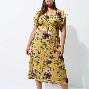 RI Plus - Gele gebloemde midi-jurk met ruches aan de mouwen