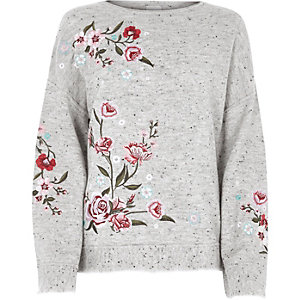 Grey floral embroidered jumper