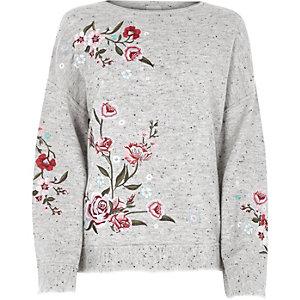 Pull gris brodé de fleurs