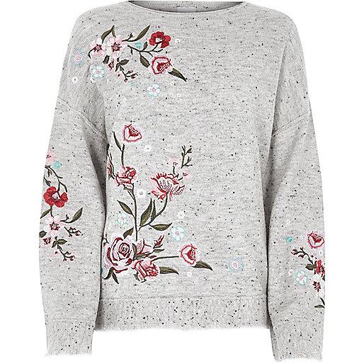 Grey floral embroidered jumper