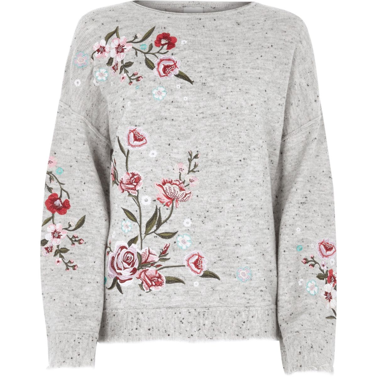 Grey floral embroidered sweater