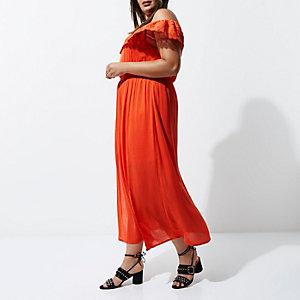 RI Plus - Oranje maxi-jurk met bardothalslijn en ruches