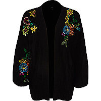 Black chunky rib knit embroidered cardigan