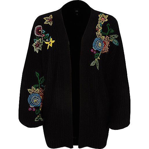Black chunky rib knit embroidered cardigan