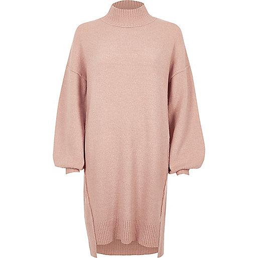 Light pink knit balloon sleeve sweater dress