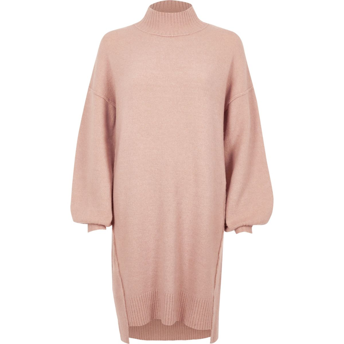 Light pink knit balloon sleeve sweater dress