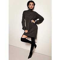 Dark grey knit balloon sleeve sweater dress