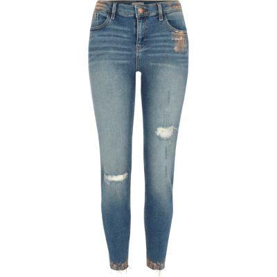 Amelie Middenblauwe superskinny jeans met koperfolie-effect