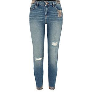 Amelie – Jean super skinny bleu moyen à détail cuivré