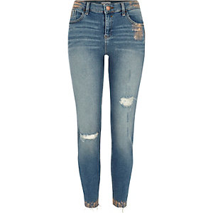 Amelie - Middenblauwe superskinny jeans met koperfolie-effect