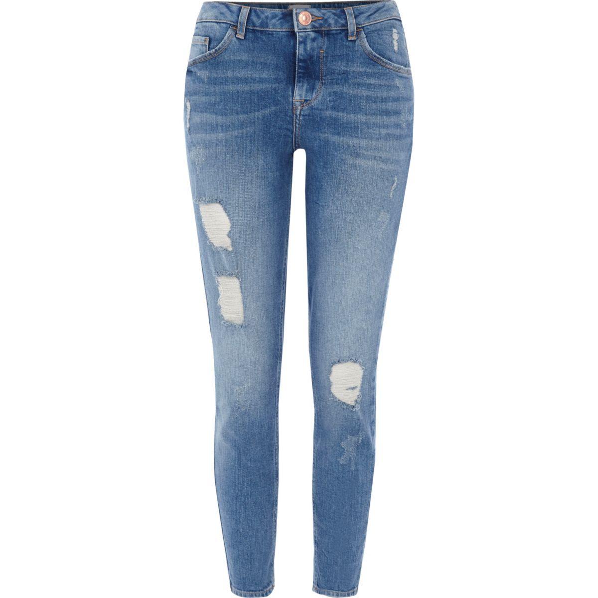 alannah mittelblaue skinny jeans im used look jeans. Black Bedroom Furniture Sets. Home Design Ideas