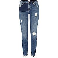 Alannah – Jean skinny en denim bleu retravaillé