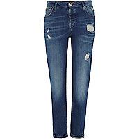 Mid blue distressed boyfriend jeans
