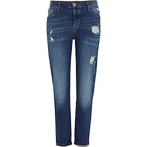 Middenblauwe distressed boyfriend jeans