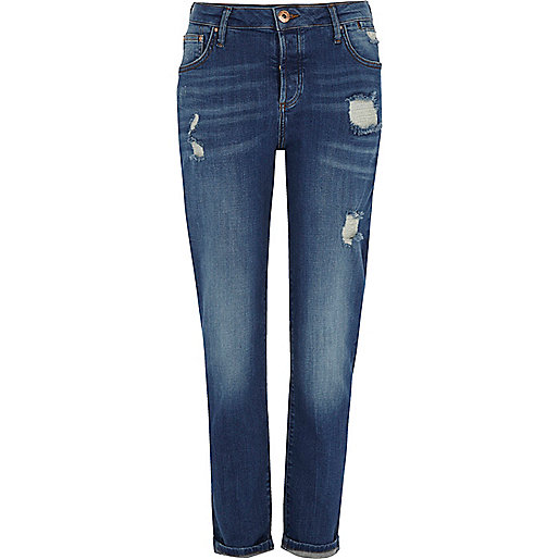Mid blue distressed boyfriend jeans
