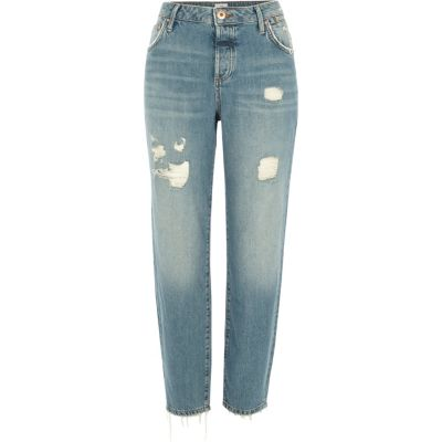 Ashley Lichtblauwe ripped boyfriend jeans