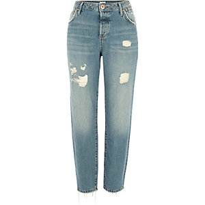 Ashley - Lichtblauwe ripped boyfriend jeans