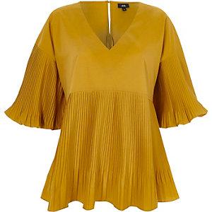 Dark yellow pleated V neck puff sleeve top