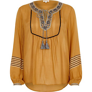 Yellow embroidered tassel long sleeve top