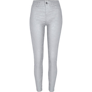 Grey wash silver coated Molly skinny jeggings