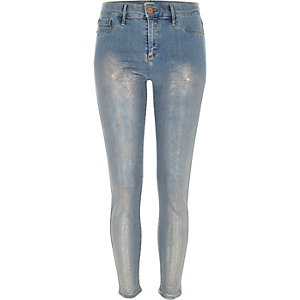 Mid blue metallic coated Molly jeggings