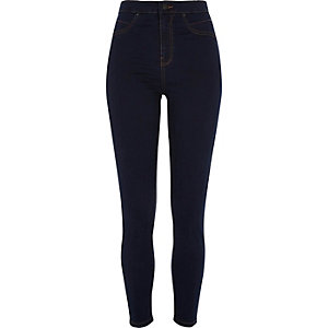 Molly - Donkerblauwe jegging met hoge taille