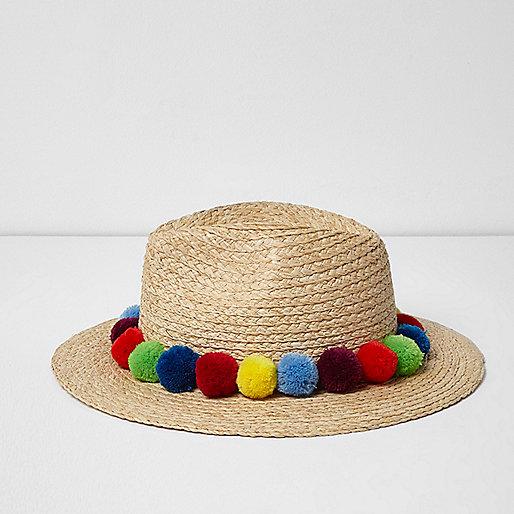 Beige pom pom trim straw fedora hat