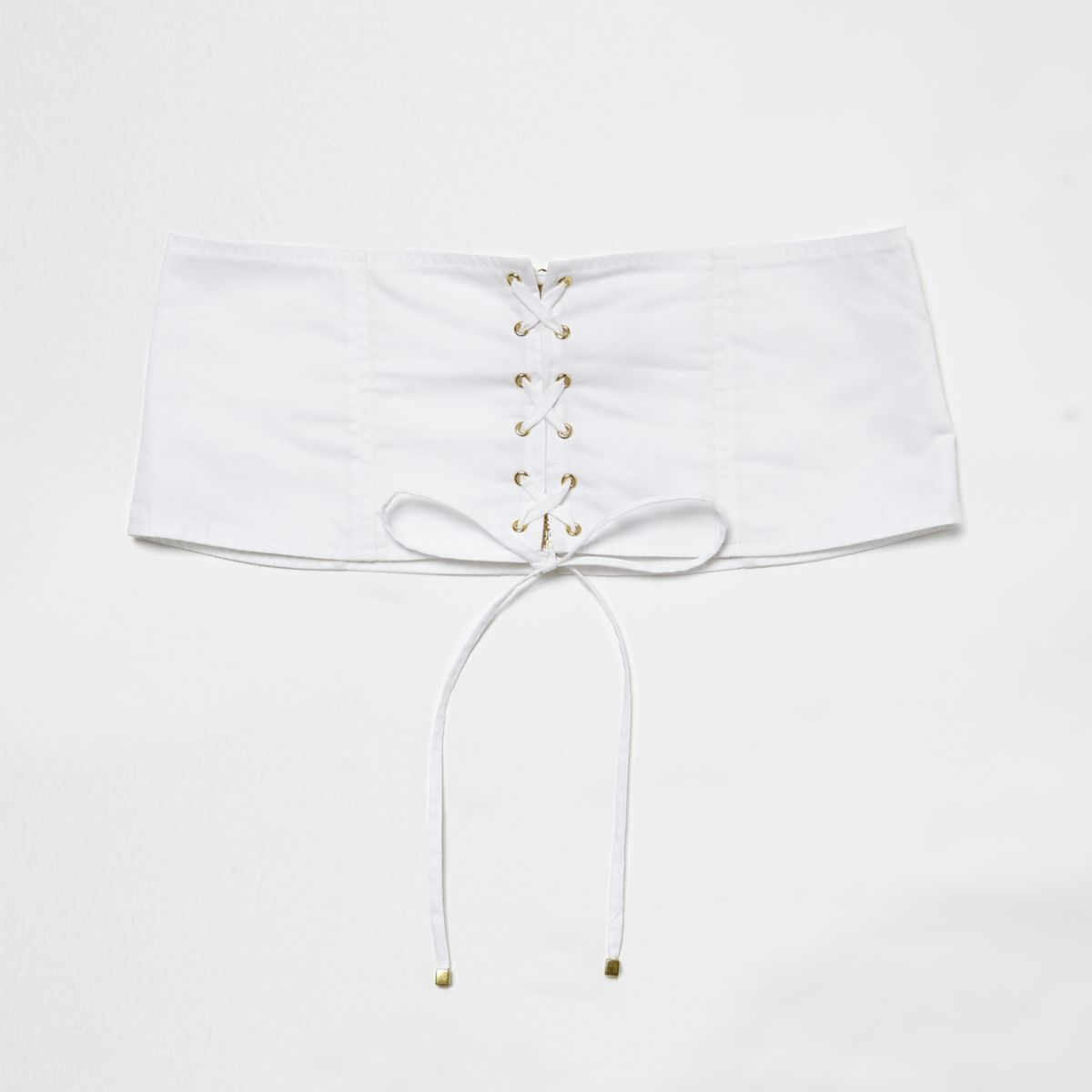 White poplin lace-up corset waist belt