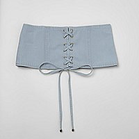 Light blue denim lace-up waist belt